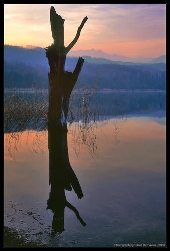 The Avigliana Lake at dusk. Piedmont, italy. by paolodefaveri