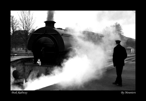 The train now arriving in Black and White by Mounters