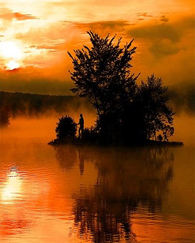 Indian Island at Sunrise by gmontambault
