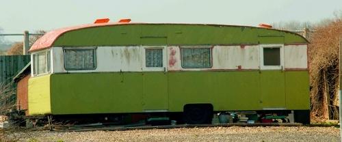 hideous green caravan by Moofie
