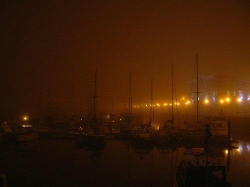 Hartlepool marina, foggy night by terra