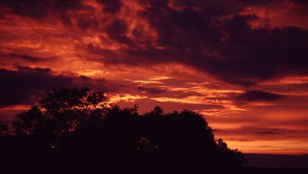 Sunset sky from Ty Rhondda by ckristoff