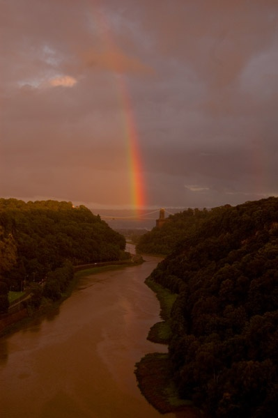 Rainbow over Clifton Suspension Bridge by LOGICONE
