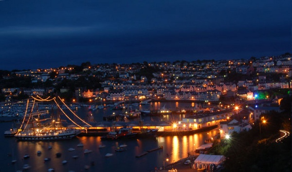 Tall Ships in Brixham Harbour at Night by Lexical