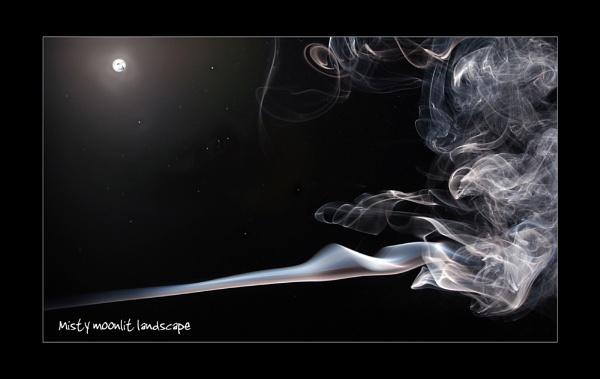 Misty moonlit landscape by C_Daniels