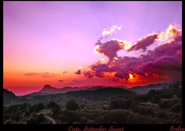 Crete, September Sun Set by evelen