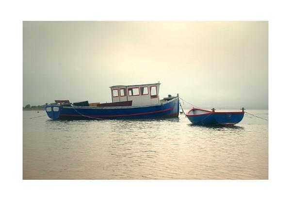 Hazy Mist and Boats by xinia