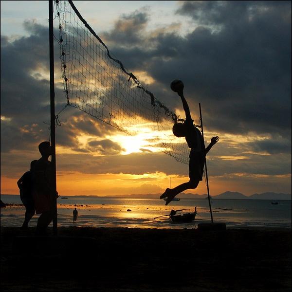 Krabi Volleyball Sunset by dandeakin