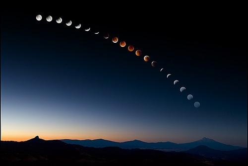 Lunar Eclipse Over Mt. Shasta by outdoorexposure