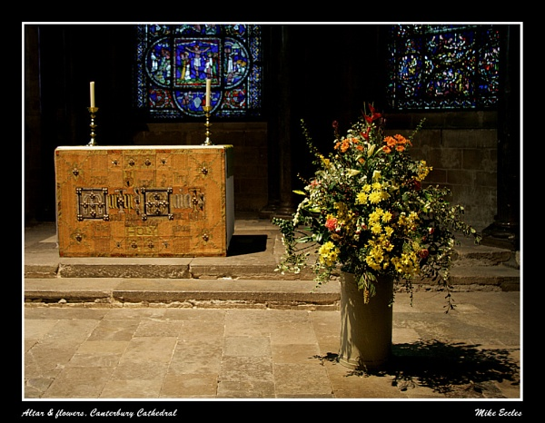 Altar and flowers by oldgreyheron