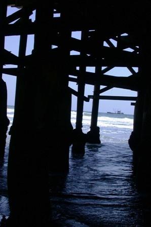 Ship in the Distance Under the Pier San Diego by btflfotogrfr