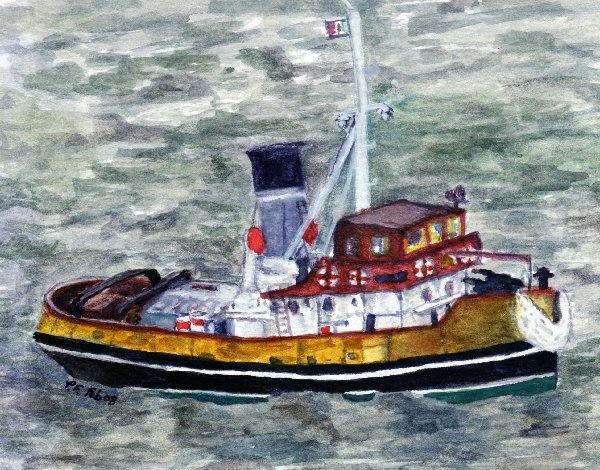 tugboat \'Anteo\' watercolour by kraziteach