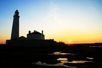 sun set st marys lighthouse