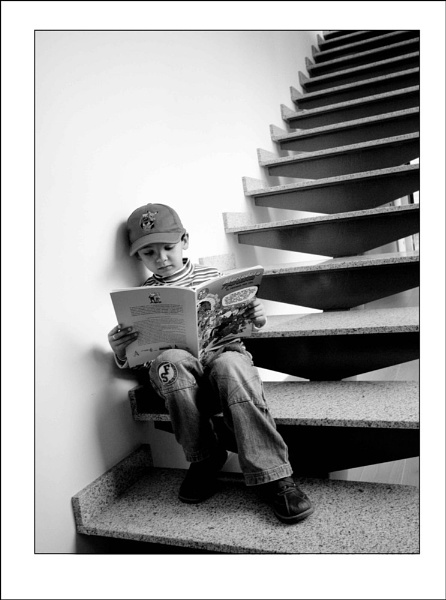 Boy Reading Comic Book by jarendell