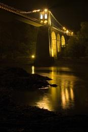 Menai Bridge at Night.