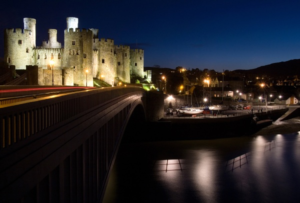 Conwy Castle and Bridge at Night by Banditman
