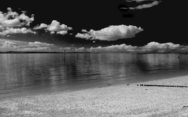 lepe beach b&w by curlyfilm