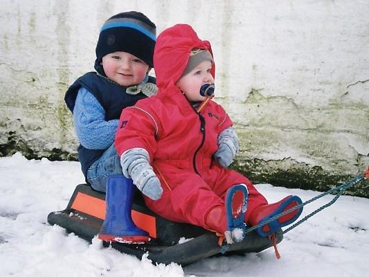 nephews on sledge by jennyk