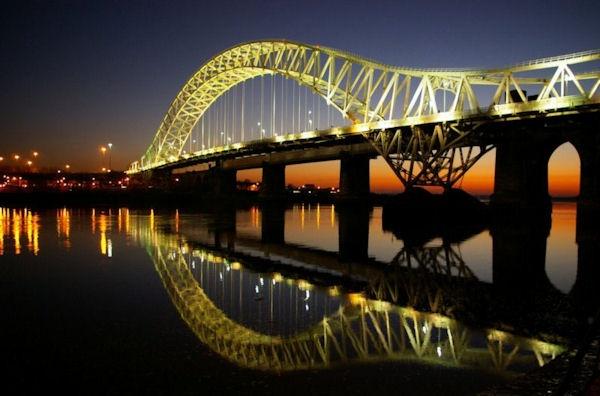 Runcorn Bridge at Dusk by FanciThat