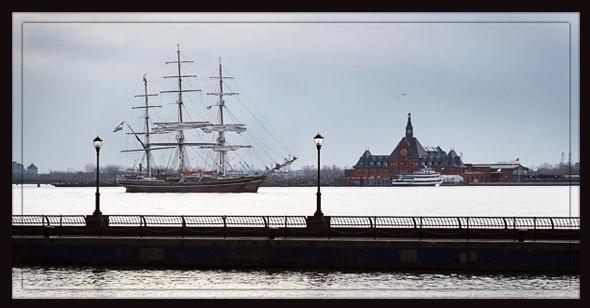 Ellis Island with Schooner by BHSDallas
