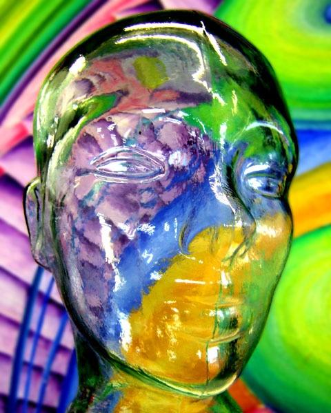 multi-coloured glass head by LaurenWoodhall
