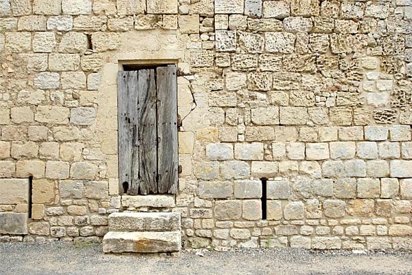 Oak Door and Limestone Wall by Lynn_West