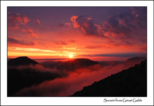 Sunset from Great Gable 2 by gnospellius
