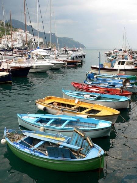 Fishing boats at Amalfi by KangaGal