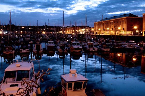 Milford Haven Marina at night. by ckristoff