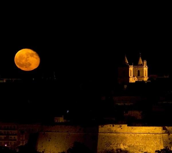 Full Moon Rising Over Valletta by MartinAgius