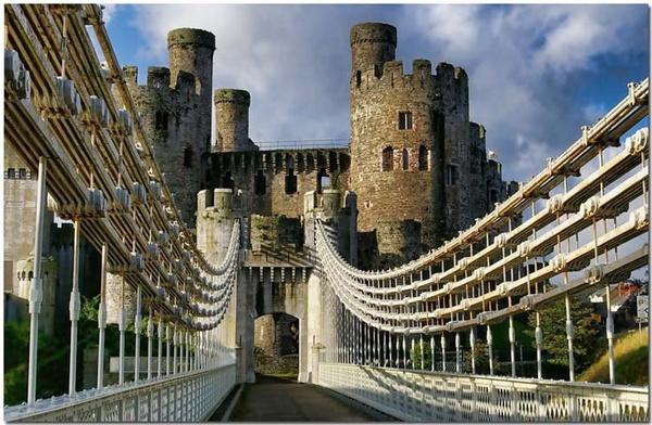 Conwy Castle from Thomas Telford\'s Suspension Bridge by bmott001