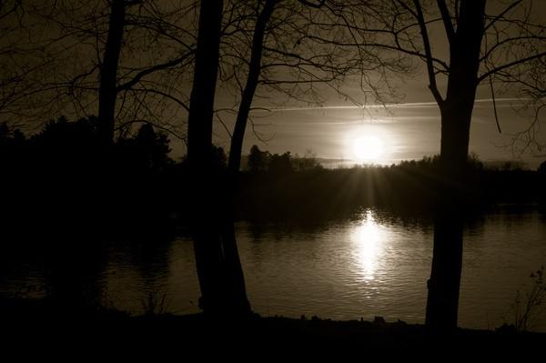 Sunset lake by DerekLG