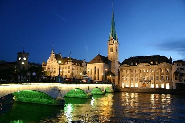 Night view of Zurich by anindya