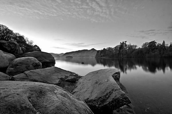 Derwentwater in mono by DJLphoto