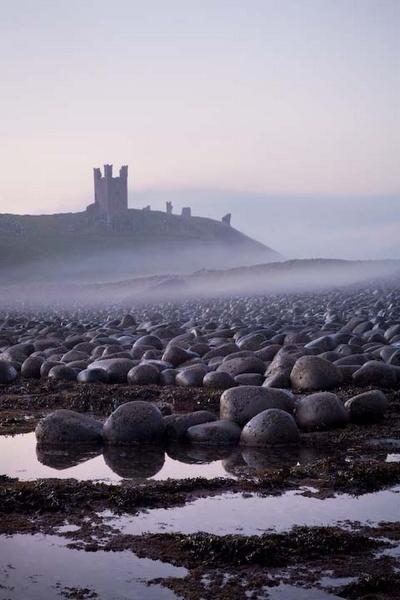 Dunstanburgh Castle, misty dawn by FranHalsall