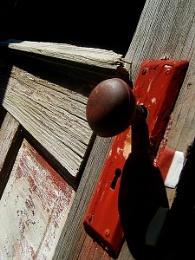 red doorknob