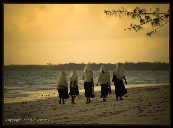 On The Way To School in Zanzibar by IngridVekemans