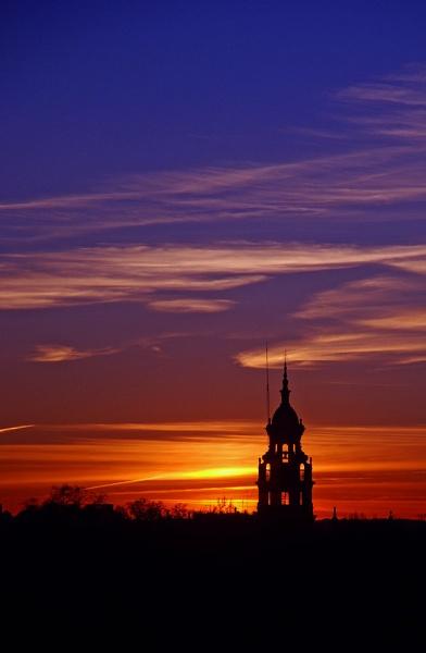 Lone Minaret of the Plaza de Espana at sunset by Reneehub