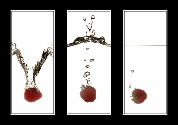 Strawberry Splash Triptych by JoshCunliffe