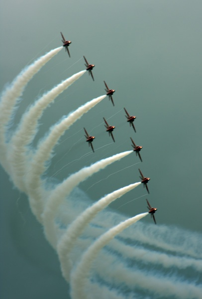 Red Arrows brief appearance at Yeovilton airday by LensYews