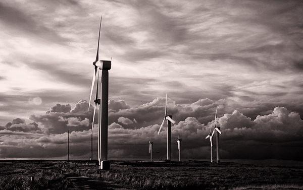 Ovenden Moor Windmills b&w by Carljorgensen
