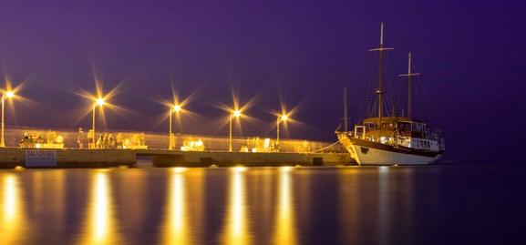 Night time pier Halkidiki by Sloman