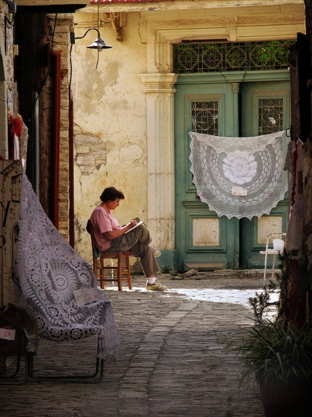 Lace Lady Pano Lefkara Cyprus by MichaelTuska