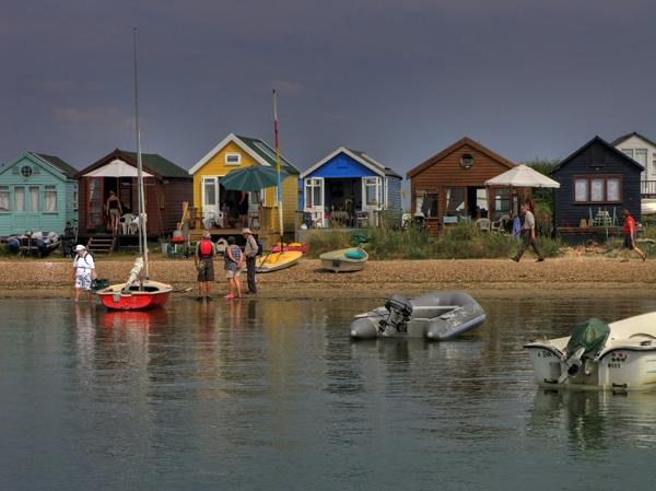 Colourful Beach Huts, Hengistbury Head Dorset. by m lester