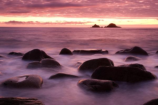 Sunset over Porth Nanven by steveb