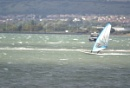 A distant windsurfer
