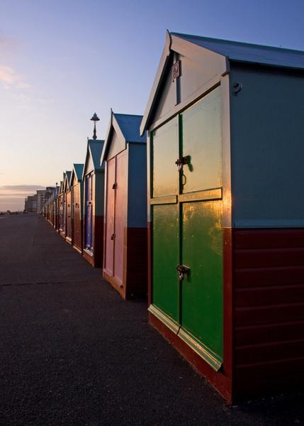 Sunset on Beach huts by zimac