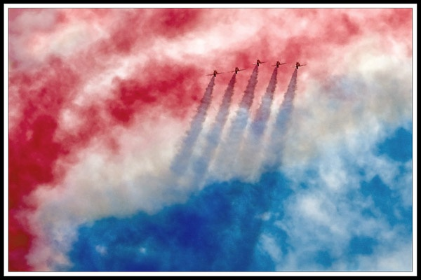 Red Arrows coming back through the smoke by Phil_Bird