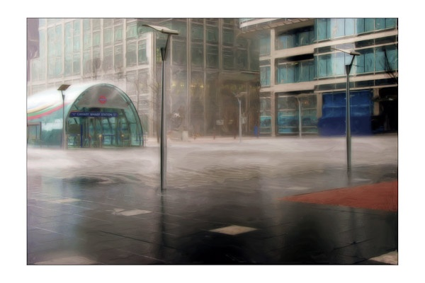 Torrential rain at Canary Wharf by Phil_Bird