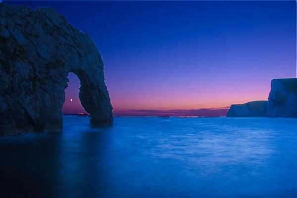 Durdle Door Crescent Moon by JackAllTog